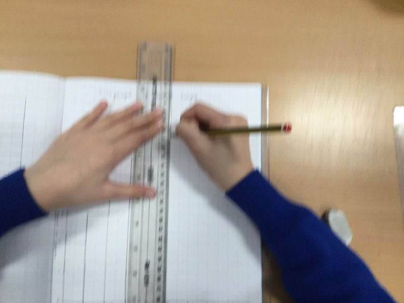 Measuring leaves and recording their length.