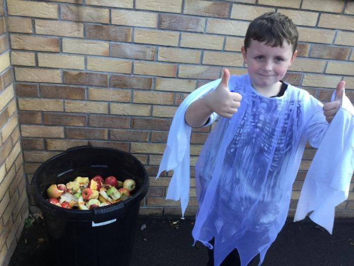 Our fruit bin, we will use this for our school compost heap