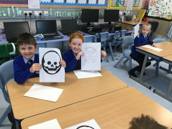 Halloween art using recycled paper